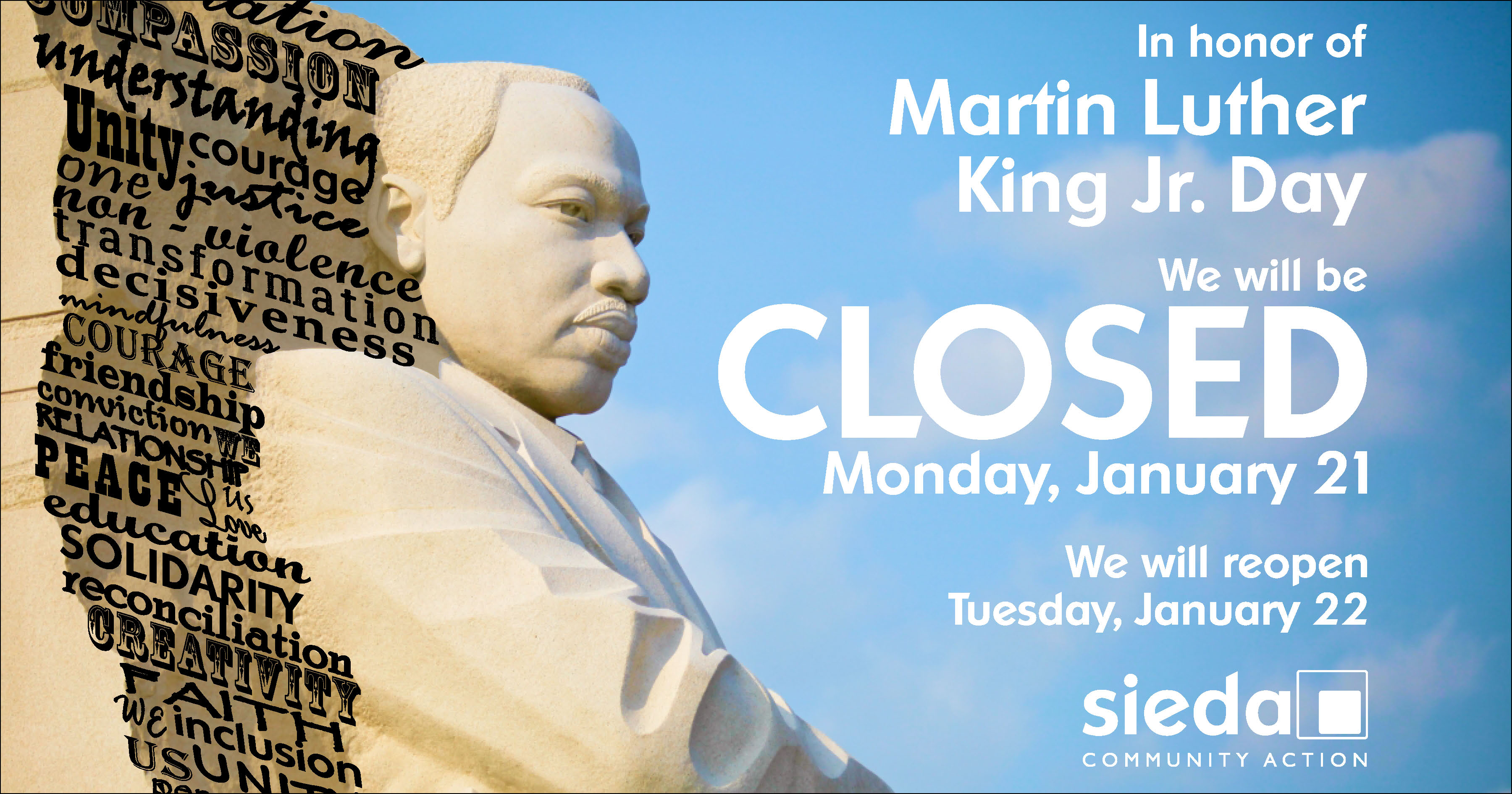 sieda community action closed for martin luther king jr  day