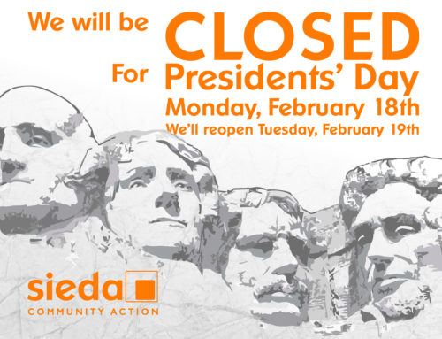 Sieda Closed for Presidents' Day