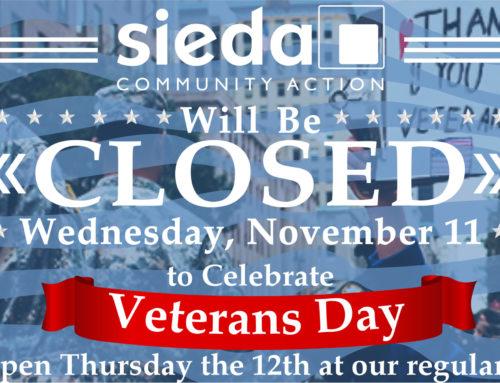 Sieda Closed for Veterans Day