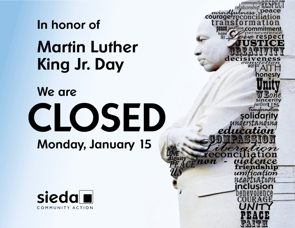 sieda centers closed for martin luther king jr  day