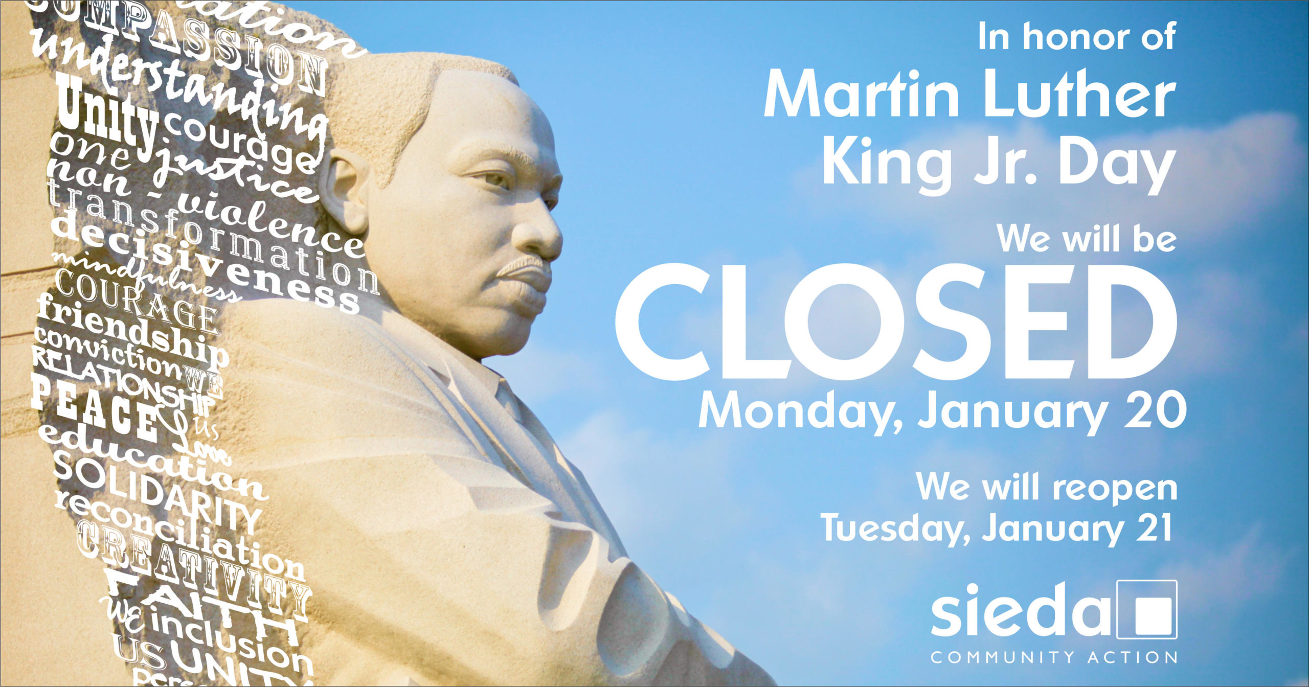 Sieda Centers Closed For Martin Luther King Jr Day Sieda Community Action