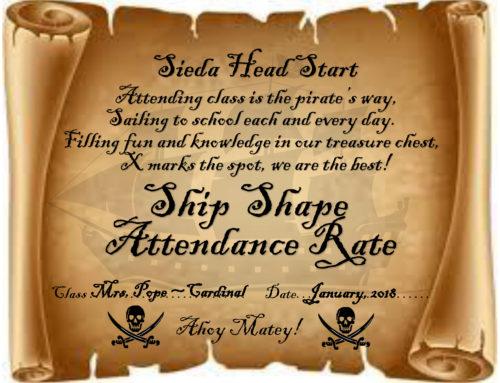 Head Start Ship Shape Award for January
