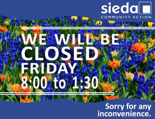 Sieda Closed till 1:30 on May 18th