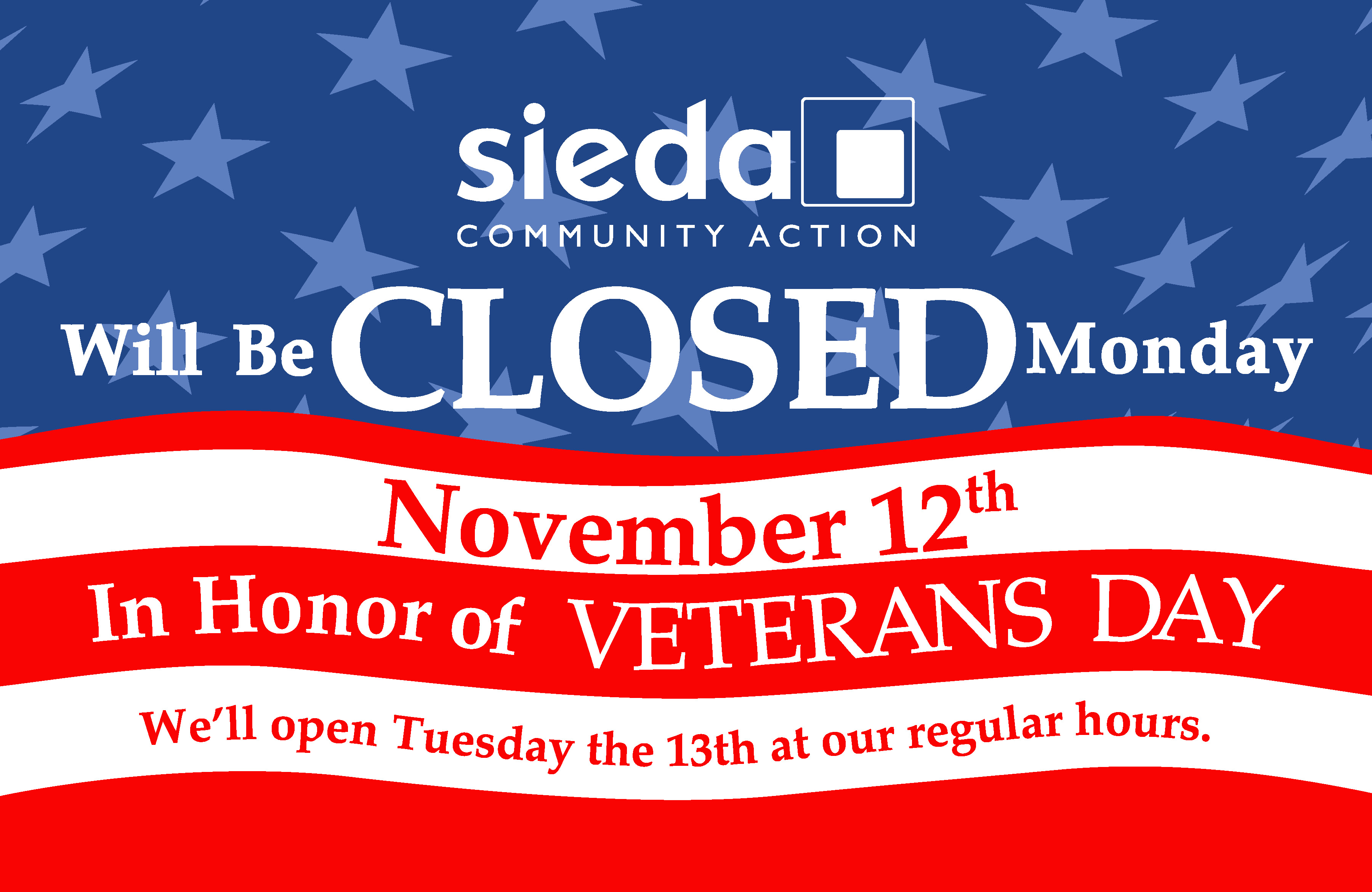 sieda offices closed for veterans day sieda community action