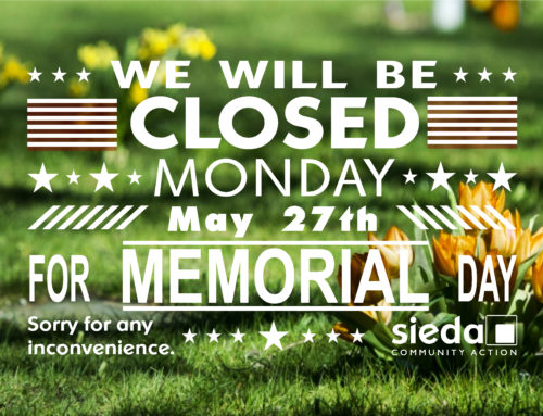 Sieda Community Action Closed for Memorial Day
